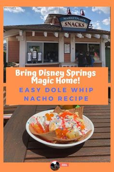 Dole Whip Nachos are back at Disney Springs!  Can't make it to Disney Springs?  Great news - you can easily make this fun Disney snack at home. Disney Activities, Disney Snacks, Disney Diy, Disney Food, Dole Whip Recipe, Waffle Bowl, Mickey Balloons, Disney Home Decor, Downtown Disney