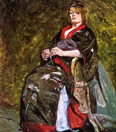 Lili Grenier in a Kimono / enri de Toulouse-Lautrec - 1888