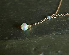 Opal Necklace, genuine Ethiopian Opal, 14K goldfill, natural freshwater pearl, small fire opal ball, simple opal pendant, real opal jewelry   https://www.etsy.com/shop/bluegreenjewels