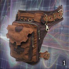 Trail Tracker Belt - triple one leg pocket grip belt - cosplay steampunk style tomb raider extension hip waist pocket thigh bags belt Moda Steampunk, Steampunk Belt, Steampunk Fashion, Style Steampunk, Steampunk Clothing, Leather Craft, Leather Bag, Handmade Leather, Thigh Bag