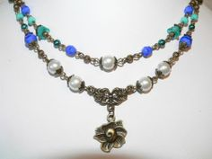 Beaded Jewelry -Victorian Jewelry -Double Strand Necklace -Turquoise Sapphire