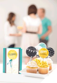 The big balloons from the Celebrate Today stamp set are perfect for making cards, or cupcake toppers. Create a coordinated birthday party!