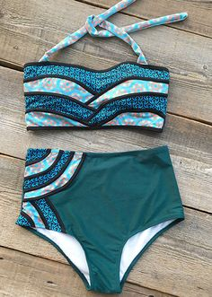 Live life on the beach, $26.80 only & Short Shipping Time! It has halter design and high-waisted fit, which can support your perfect body.Just stay in style with Cupshe Seascape Painting Halter Bikini Set.