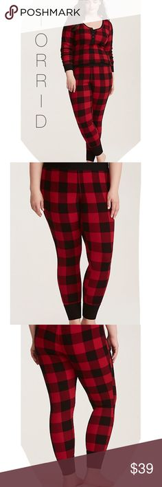 """🆕Sleep Plaid Thermal Leggings Adorable Torrid Sleep Plaid Thermal Leggings. The thermal knit is a waffle-y stretchy fabric that you'll never want to take off. The thick waistband keeps you comfy while you snooze, the ribbed ankles lend a flattering fit. Approx 28 1/4"""" inseam❣Sold out online❣I have the matching top in my closet❣ torrid Intimates & Sleepwear"""