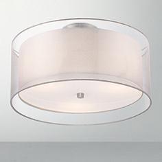 "Possini Euro Design Double Drum 18"" Wide White Ceiling Light"