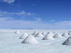 salt mounds in bolivia.