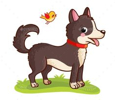 A dog stands in a meadow and chews grass. Vector illustration with cute animals in cartoon style.