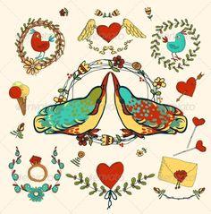 Love Decorative Elements Set