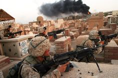 """""""Warrior Wednesday: With smoke rising from a building hit by tank-fire, Marines with companies Bravo, Charlie and Weapons Battalion Marines continue a second day of fighting in the Najaf cemetery, on Friday, August Usmc, Marines, Us Marine Corps, Cemetery, Military, Fire, Building, Instagram Posts, Warriors"""