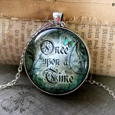 Fairytale Necklace: ONCE upon a TIME fairytale inspirational word art pendant necklace by Jessica Galbreth
