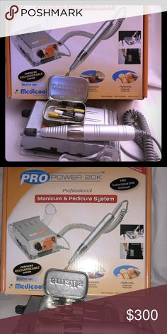 Medicool Pro Medicool Pro power 20K nail drill comes with nail bits ($15) each but selling it bundle so its not that expensive. I have 6 pieces bits that cost $10 to $15 each. Comes with original box and charger. medicool pro Other