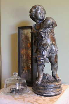 Come on in to tour my dining room decorated just for you! We'll start the tour with my French boy statue who s. Halloween 2016, Happy Halloween, Room Tour, Bookends, Dining Room, Room Decor, Tours, Statue, Room Decorations