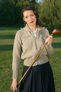 It's a knitted Member's Only jacket :D What's not to love! -- Jacket for weekend sports pattern by Susan Crawford
