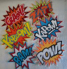 6 extra large super hero embroidered illustration comic burst iron on patches. $58.00, via Etsy.