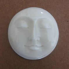 MS Carved Moon Face Cabochon Closed Eyes 19mm 0.75 in Bali Fair Trade