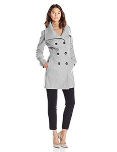 Anne Klein Women's Double Breasted Fold Collar Wool Coat, Light Grey, Small