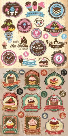 Logos / Vintage glaces I like the bottom colours not so much all the pink Vintage Candy, Vintage Labels, Logos Vintage, Web Design, Logo Design, Logo Doce, Ice Cream Logo, Badges, Cupcakes Decorados