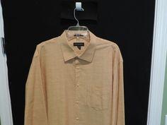 "Jhane Barnes Designer ""Big Man"" Orange Crepe Textured Shirt XL Mint Quick Ship #JhaneBarnes #ButtonFront"