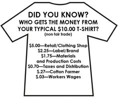 Did you know who gets the money from your typical $10 T-shirt? #EthicalFashion #FairTrade  See also: http://www.costoffashion.org/  http://fashionrevolution.org/  http://www.pinterest.com/pin/533958099543011582/ http://betterworldshopper.org/r-clothing.html