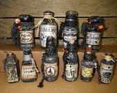 Vintage and new HALLOWEEN POTION BOTTLES  Set of 10 glass apothecary Halloween decoration 3in. - 4.5 in. collectible spooky goth primative
