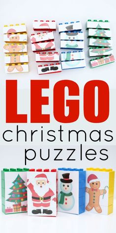 LEGO Christmas Puzzles with free printable characters! Take them apart and put them together again, mix up the bodies, and have fun playing! Perfect for toddlers, preschoolers, and even school-aged kids! Christmas Puzzle, Lego Christmas, Toddler Christmas, Christmas Holidays, Office Christmas, Christmas Activities For Toddlers, Holiday Activities, Christmas Crafts For Kids, Christmas Projects