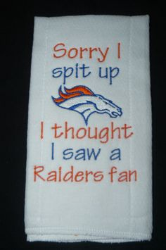 Denver Broncos Burp Cloth by PrettyPinneyBoutique on Etsy, $10.00