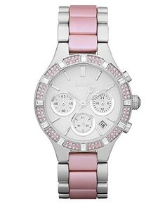 DKNY Watch, Women's Chronograph Stainless Steel and Pink Aluminum Bracelet - Women's Watches - Jewelry & Watches - Michael Kors, Cool Watches, Watches For Men, Trendy Watches, Fossil Watches, Women's Watches, Jewelry Accessories, Fashion Accessories, Beautiful Watches