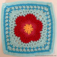 "Look at What I Made | Lace Petals Crochet Square (CAL Block 16) #tutorial #freecrochetpattern #grannysquare 12"" crochet square, crochet squares, squar round, granni squar"