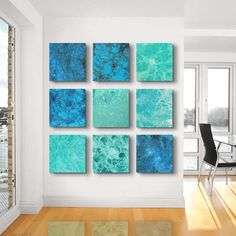 Large Abstract Painting 9 square CUSTOM Abstract by TwistOfUnique, $540.00