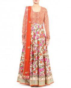 Floral Printed Beige Anarkali Suit with Red Yoke