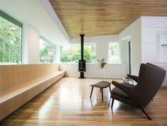 wood ceiling, floor & casework