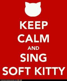 soft kitty warm kitty little ball of fur. happy kitty, sleepy kitty, purr, purr, purr