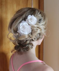 Weding Hairpiece Ivory Silk Flower Wedding Hair by CornerBungalow, $46.00