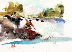 FLY FISHING ART Painting 11 X 14 LARGE Print by Artist DJR