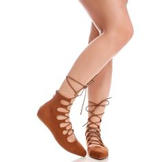 Tan faux suede material lace up design back zipper pointed toe casual... (11 AUD) ❤ liked on Polyvore featuring shoes, flats, tansuede, pointy-toe flats, lace up shoes, tan flats, flat pumps and suede flats