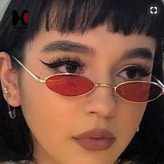 SHAUNA Trending Women Small Oval Sunglasses Fashion Metal Frame Men Clear Red Lens Shades UV400