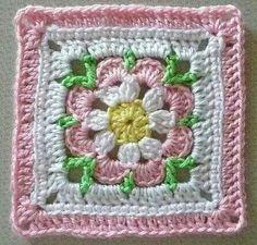 0068 - Just Peachy Blossom Square Crochet Flower Squares, Crochet Square Blanket, Crochet Circles, Crochet Blocks, Granny Square Crochet Pattern, Crochet Flower Patterns, Afghan Crochet Patterns, Crochet Motif, Crochet Flowers