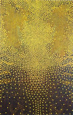 Chris Fennell Manitou, 2009 Acrylic, metallic glimmer, and paper collage mounted on canvas Art Brut, Aboriginal Art, Mellow Yellow, Yellow Black, Color Yellow, Art Design, Pattern Art, Textures Patterns, Oeuvre D'art