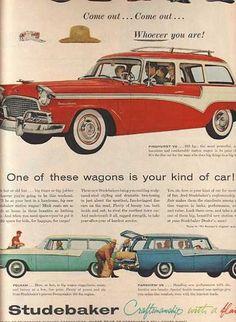 Vintage 1950's wagons. Studebaker. Falcon. Edsel.