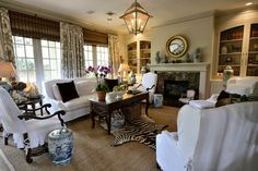 Classic living room with white slipcovered furniture