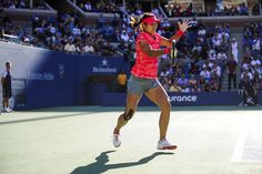 The ball is captured in its moment of impact on the racquet of Li Na against Serena Williams during their semifinal match on Day 12 at the 2013 US Open