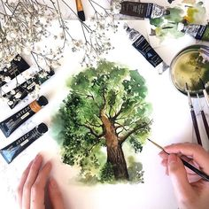 Creative Drawing Majestic tree watercolor - Need some art inspiration? Well you've come to the right place! Here's a list of over 20 tree drawing and painting ideas. Why not check out this Art Drawing Set Artist Sketch … Tree Watercolor Painting, Watercolor Landscape, Painting & Drawing, Watercolor Portraits, Watercolor Flowers, Watercolor Paper, Painting Trees, Watercolor Artists, Bird Paintings