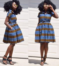 African ankara polo neck navy blue with ivory and by Veroexshop