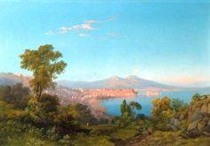 Consalvo Carelli (Napoli, 1818-1900) Vista della Baia di Napoli