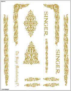 Decals for Singer 66/99 Filigree  Restoration - Waterslide Transfer - Gold Metallic
