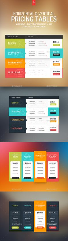 Horizontal & Vertical Pricing Tables Template PSD. Download here: http://graphicriver.net/item/horizontal-vertical-pricing-tables/15774259?ref=ksioks