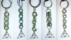 Slytherin Deathly Hallows-inspired keychains - ALL HOUSE COLOR CHAINS AVAILABLE