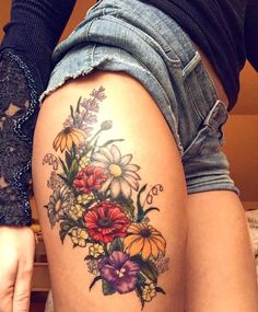 Okay this floral hip tattoo, flower thigh tattoos, sunflower tattoos, Vintage Flower Tattoo, Floral Thigh Tattoos, Leg Tattoos, Body Art Tattoos, Small Tattoos, Sleeve Tattoos, Feather Tattoos, Colorful Flower Tattoo, Tattoo Floral