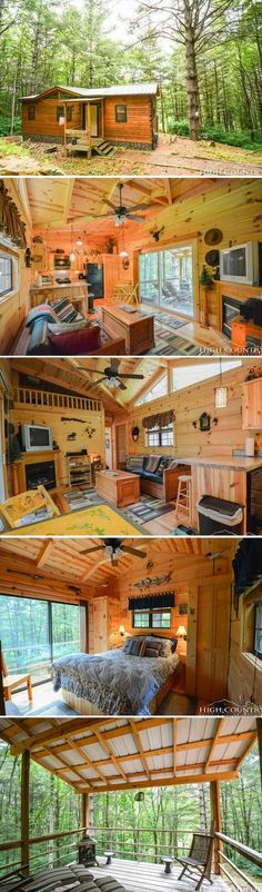 Shed DIY - A 400 sq ft cabin on three acres, available for sale in North Carolina Now You Can Build ANY Shed In A Weekend Even If You've Zero Woodworking Experience! Tyni House, Tiny House Cabin, Log Cabin Homes, Tiny House Living, Tiny House Design, Small House Plans, Tiny Cabin Plans, Barn Homes, Log Cabins