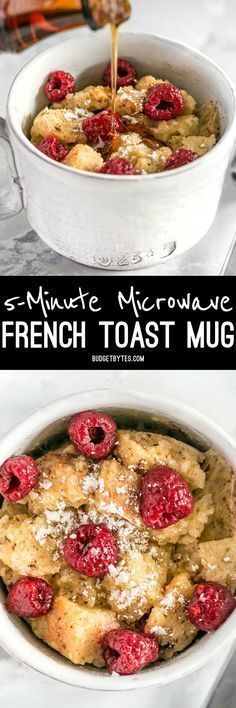 Microwave French Toast Mug - Budget Bytes These fast and easy French Toast Mugs are a great single serving breakfast treat plus a way to use leftovers and reduce food waste. Mug Recipes, Brunch Recipes, Breakfast Recipes, Cooking Recipes, Breakfast Ideas, Sweet Breakfast, Breakfast Time, Cooking Time, Recipes